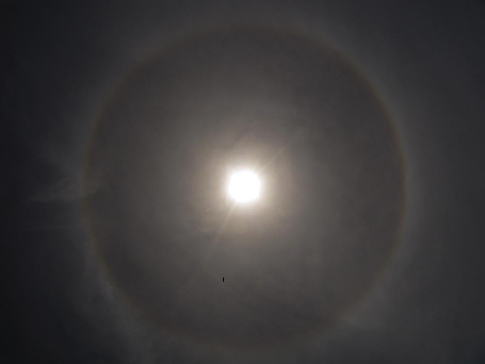 Halo Effekt um die Sonne + Helikopter