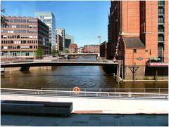 Hamburg bridges shoted from the bus.
