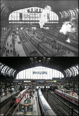 Hamburg, Hauptbahnhof 1930 und heute / Main Station 1930 and today