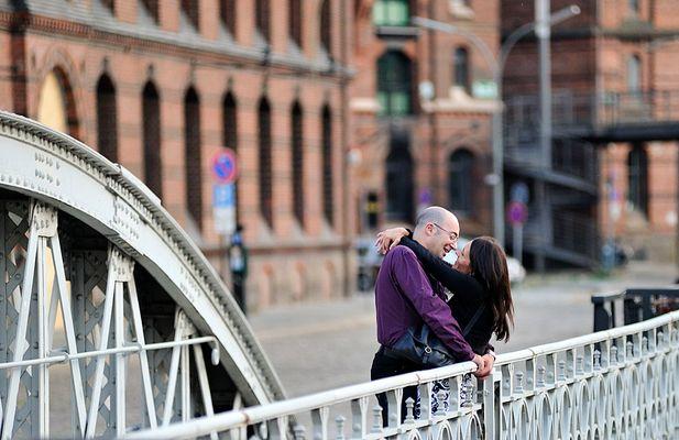 Hamburg - Speicherstadt, das Liebespaar