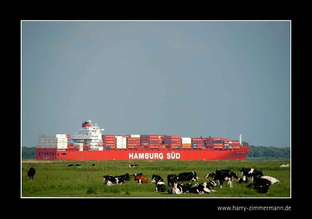 Hamburg-Süd auf dem Weg in den Hafen