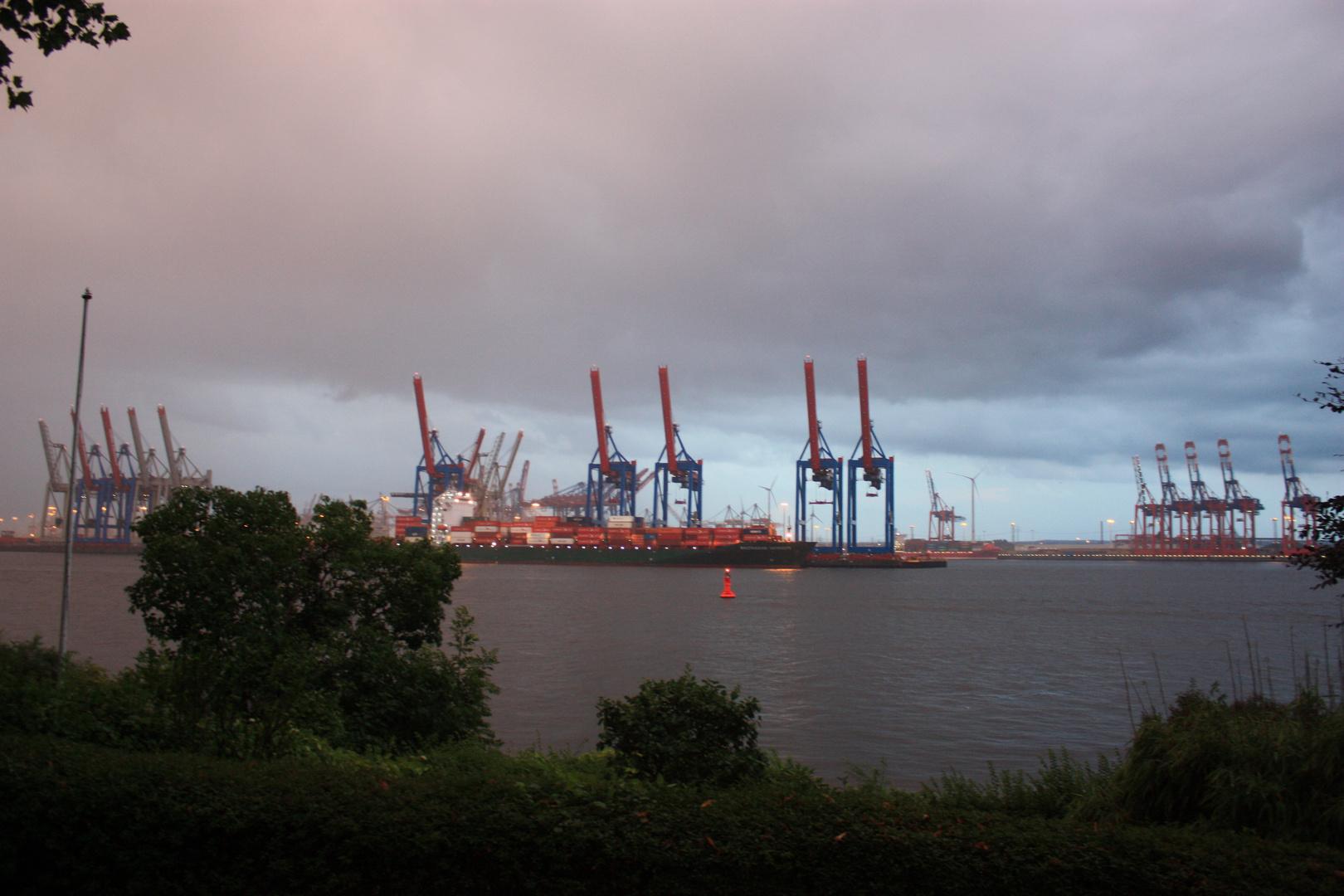 Hamburger Hafenkräne im Regenschauer