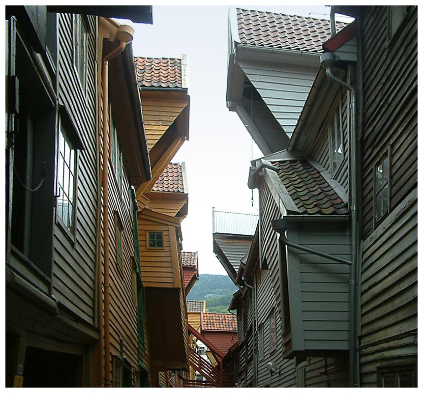 Hanseviertel Bryggen der Stadt Bergen - Norwegen