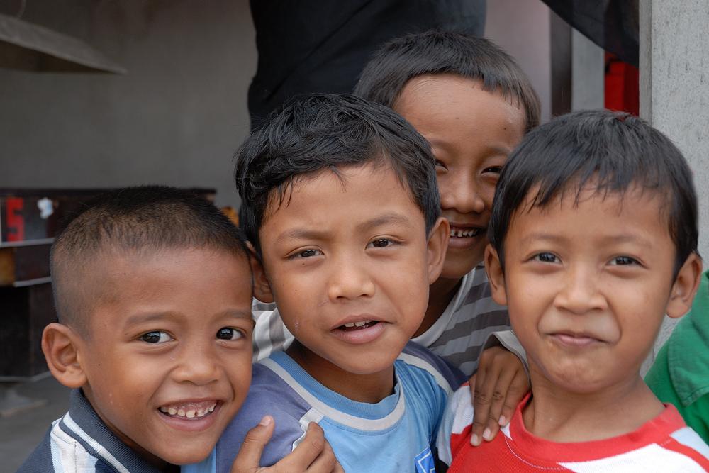 Happy Balinese boys in Subagan