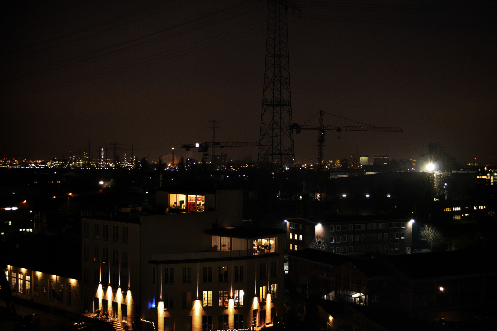 Harburger Hafen bei Nacht