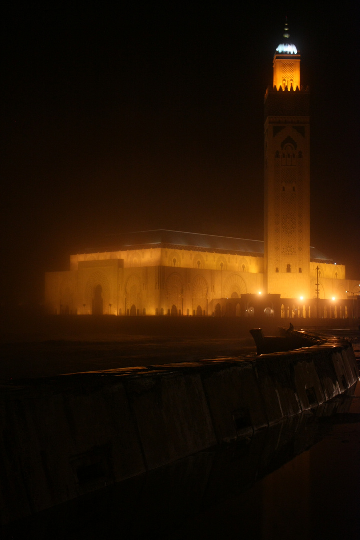 Hassan II Mosque in the night