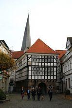 Hattingen / Ruhr - Altstadt mit Fachwerk; altes Rathaus und Kirchturm