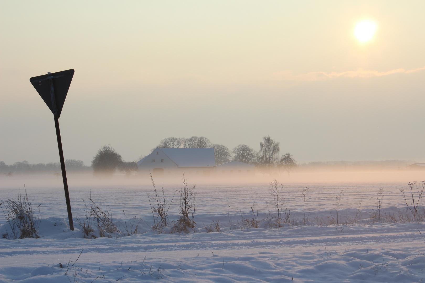 Haus bei Schnee und Nebel!