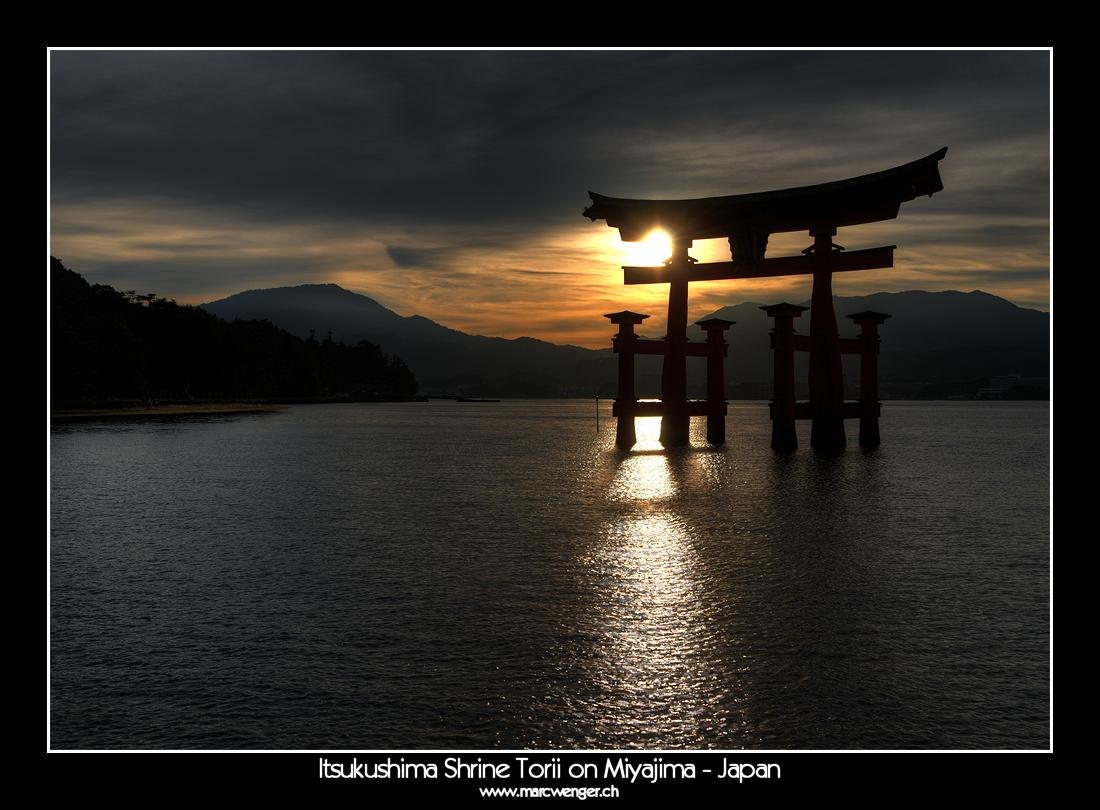 HDR of Itsukushima Shrine Torii on Miyajima - Japan