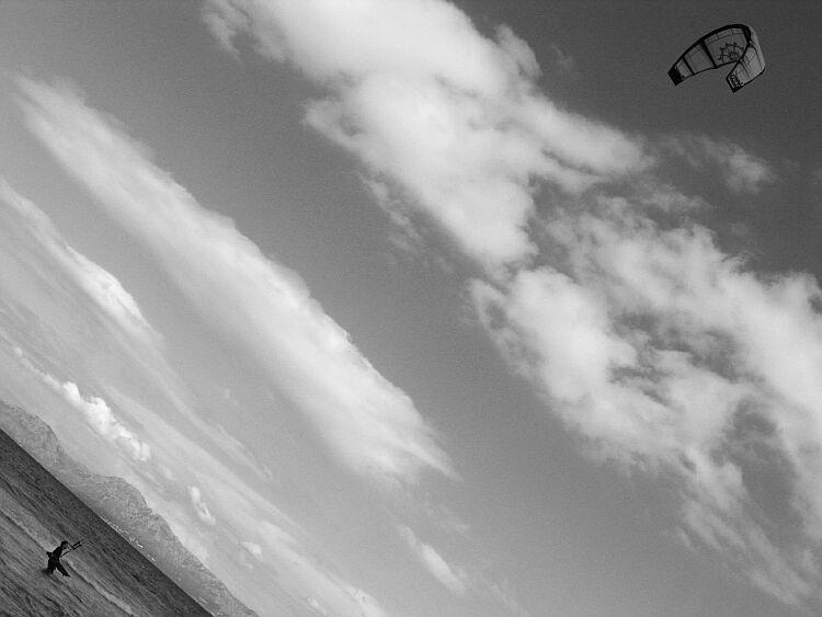 he is flying...