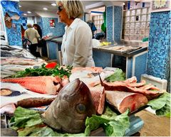 Heads in fish market