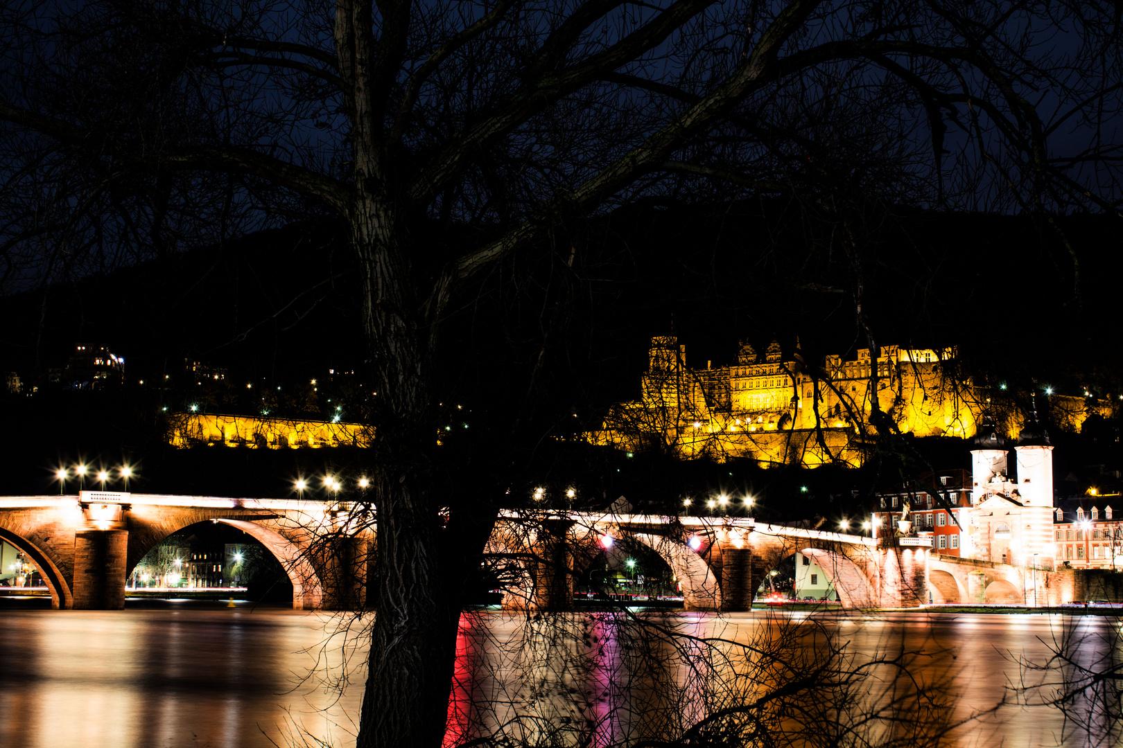 Heidelberger-Schloss bei Nacht