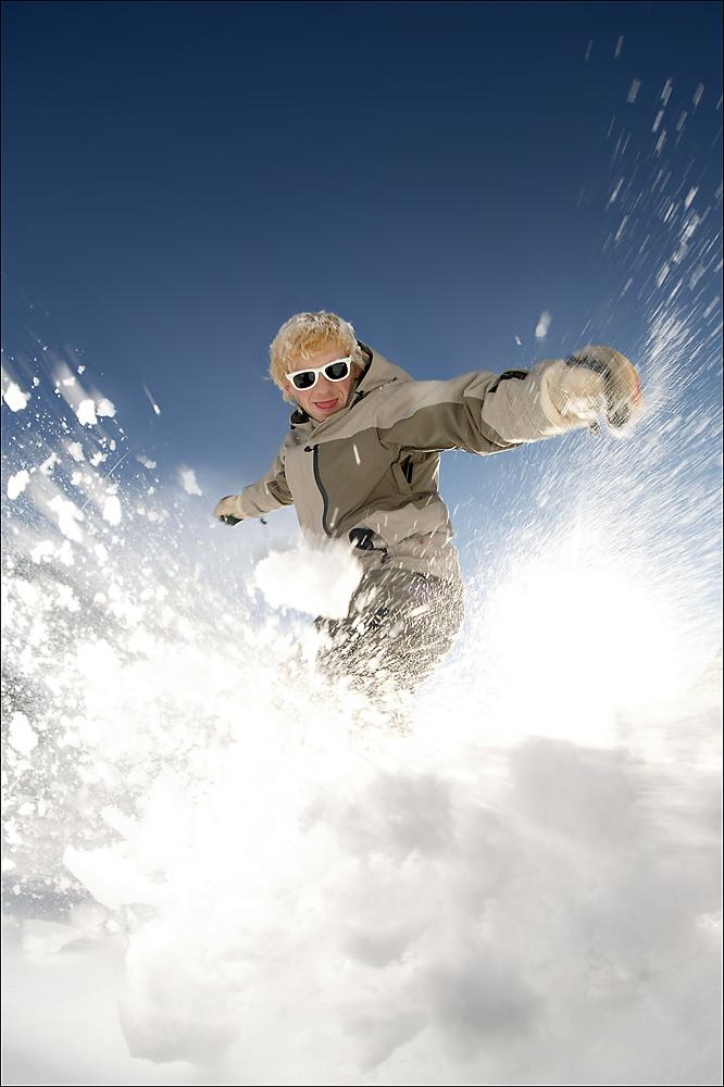 Heinos Söhne fahren Snowboard