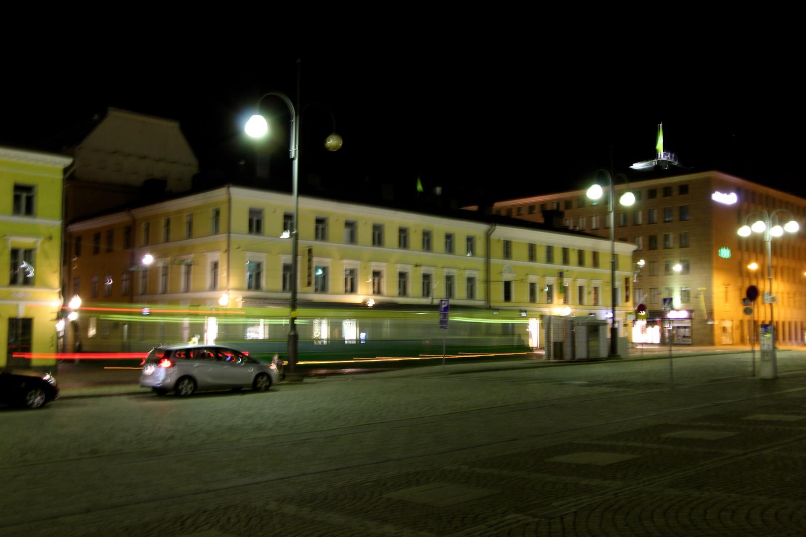Helsinki by night with tram