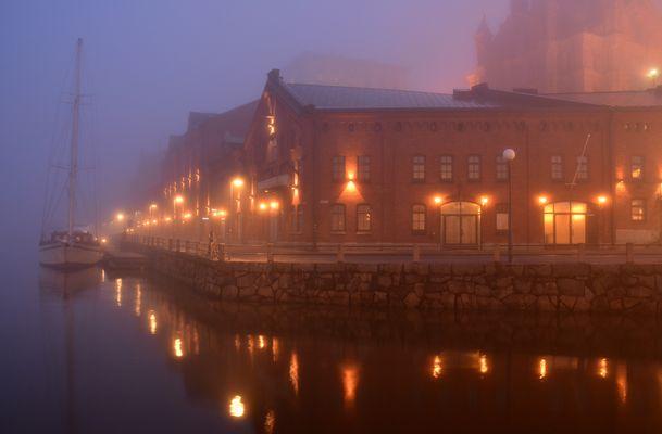 Helsinki, foggy Kanavaranta