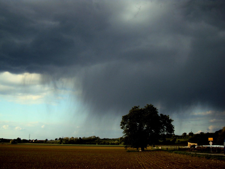 Heranziehende Regenwolke am Oberrhein