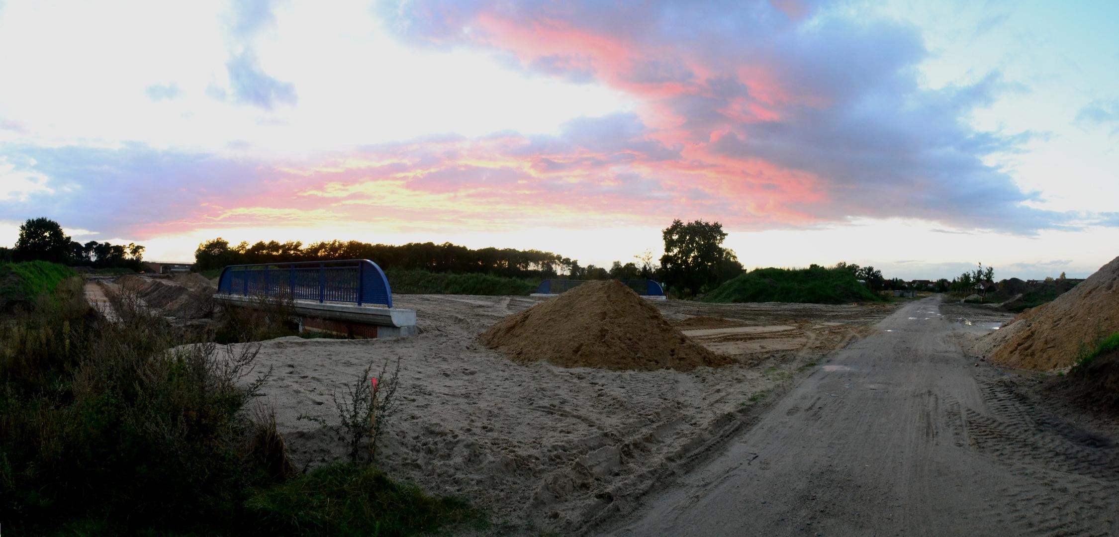 Herbst Sonnenuntergang an der neuen B3 In Celle