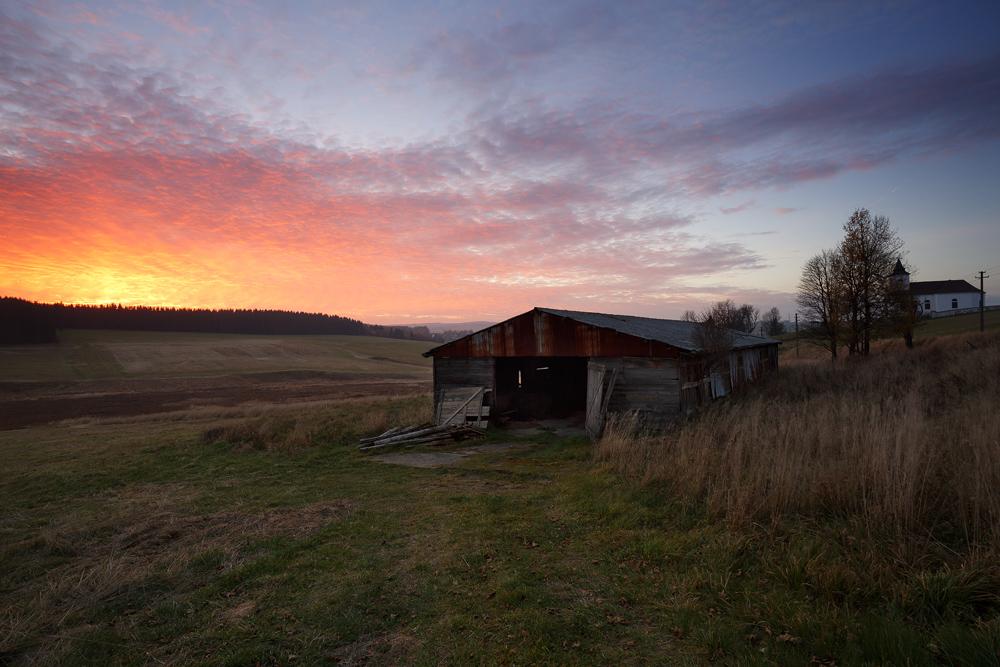 Herbstabend in Kalek (Erzgebirge)