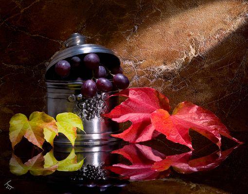 herbstliches Weinlaub mit Trauben