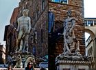 Hercules and Cacus, Bandinelli (Right) & Neptune, Ammannati (Left), Piazza della Signoria, Florence