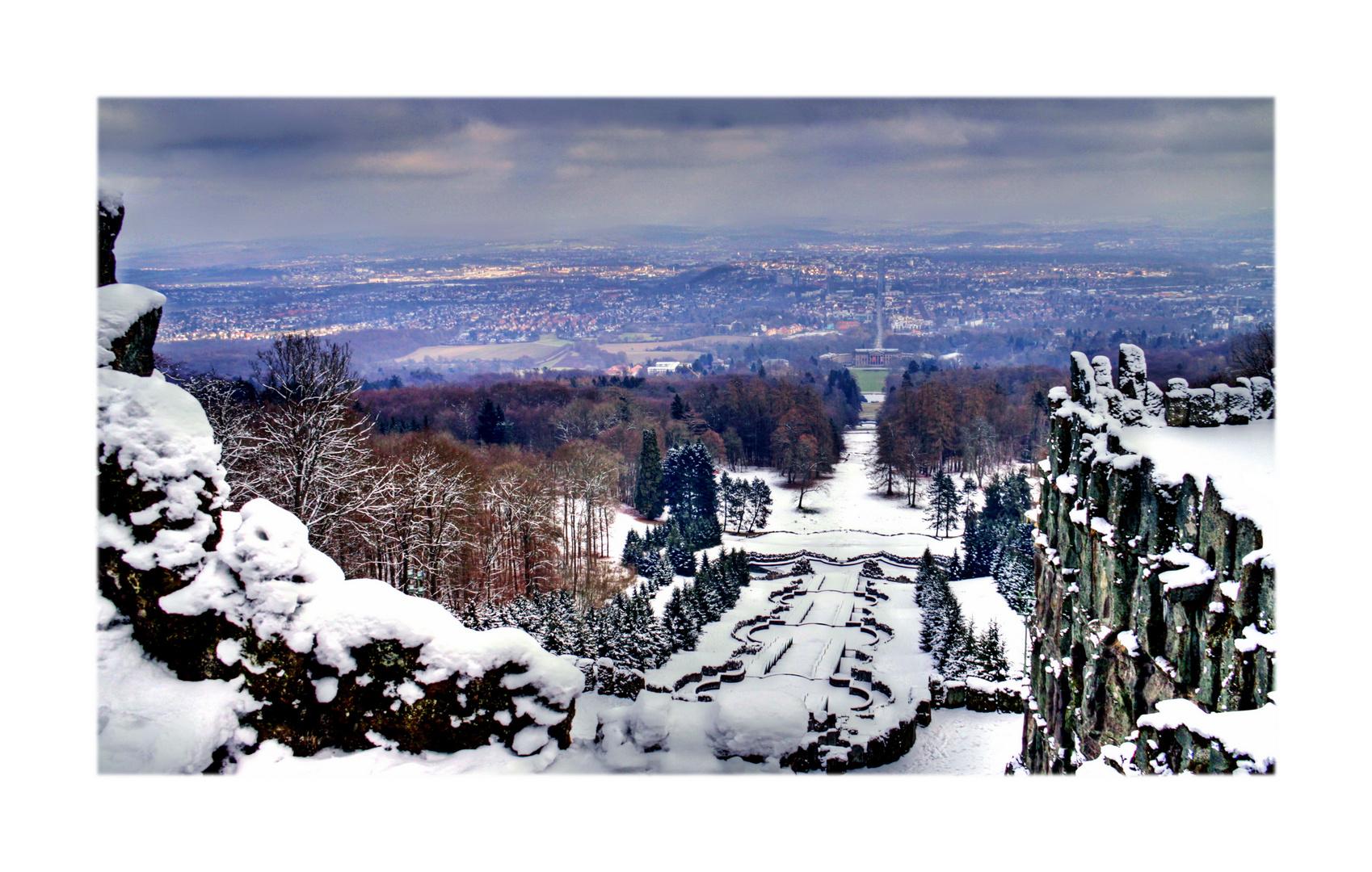 Herkulesblick Kassel mit Sonnenflecken und letztem Schnee !?
