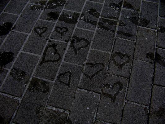 Herzen auf Eis