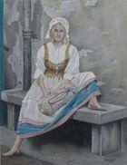 Het meisje op de stenen bank.
