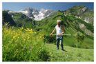 Heuarbeit im Gebirge
