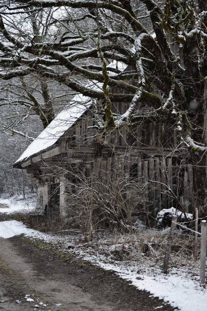 Heustadl im Winter