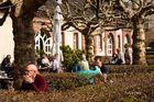 Heute, bei bestem Frühlingswetter im Garten von Schloß- Corvey an der Weser