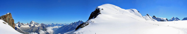 Heute Morgen bei Superwetter auf dem Breithorngletscher