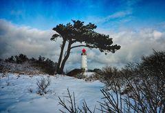 Hiddensee im Winter Leuchtturm Dornbusch