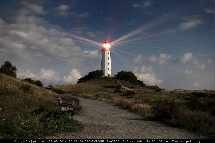 Hiddensee, Leuchtturm Dornbusch im Vollmondlicht