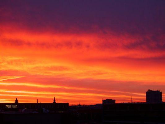 Himmel heute morgen über Cottbus