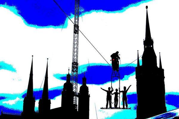 Himmelsstürmer auf den Roten Turm in Halle/S