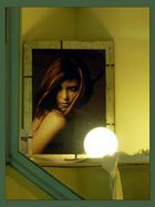 hinter einem Fenster