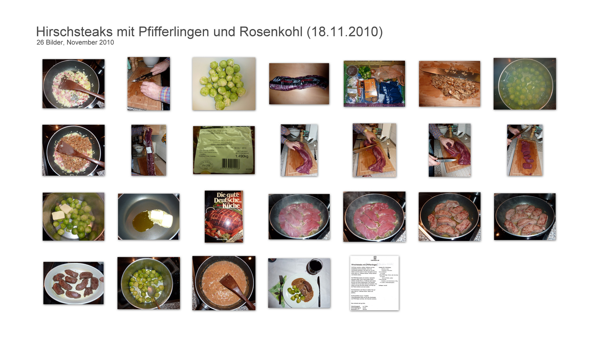 Hirschsteaks mit Pfifferlingen und Rosenkohl