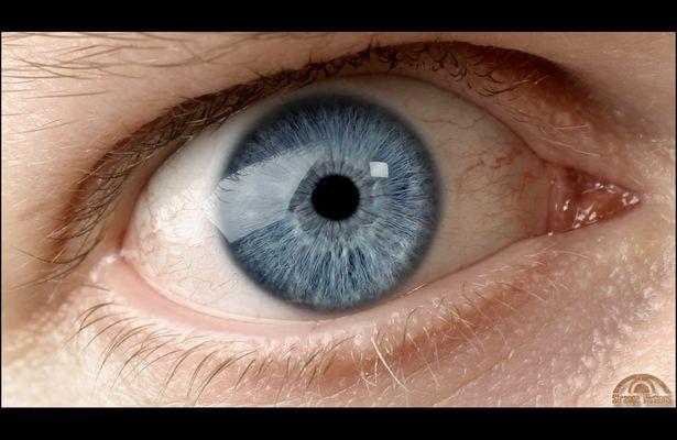his blue eye