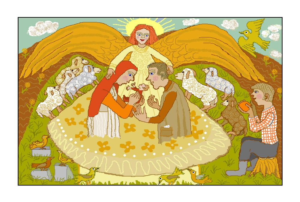 Hl. Familie mit Engel