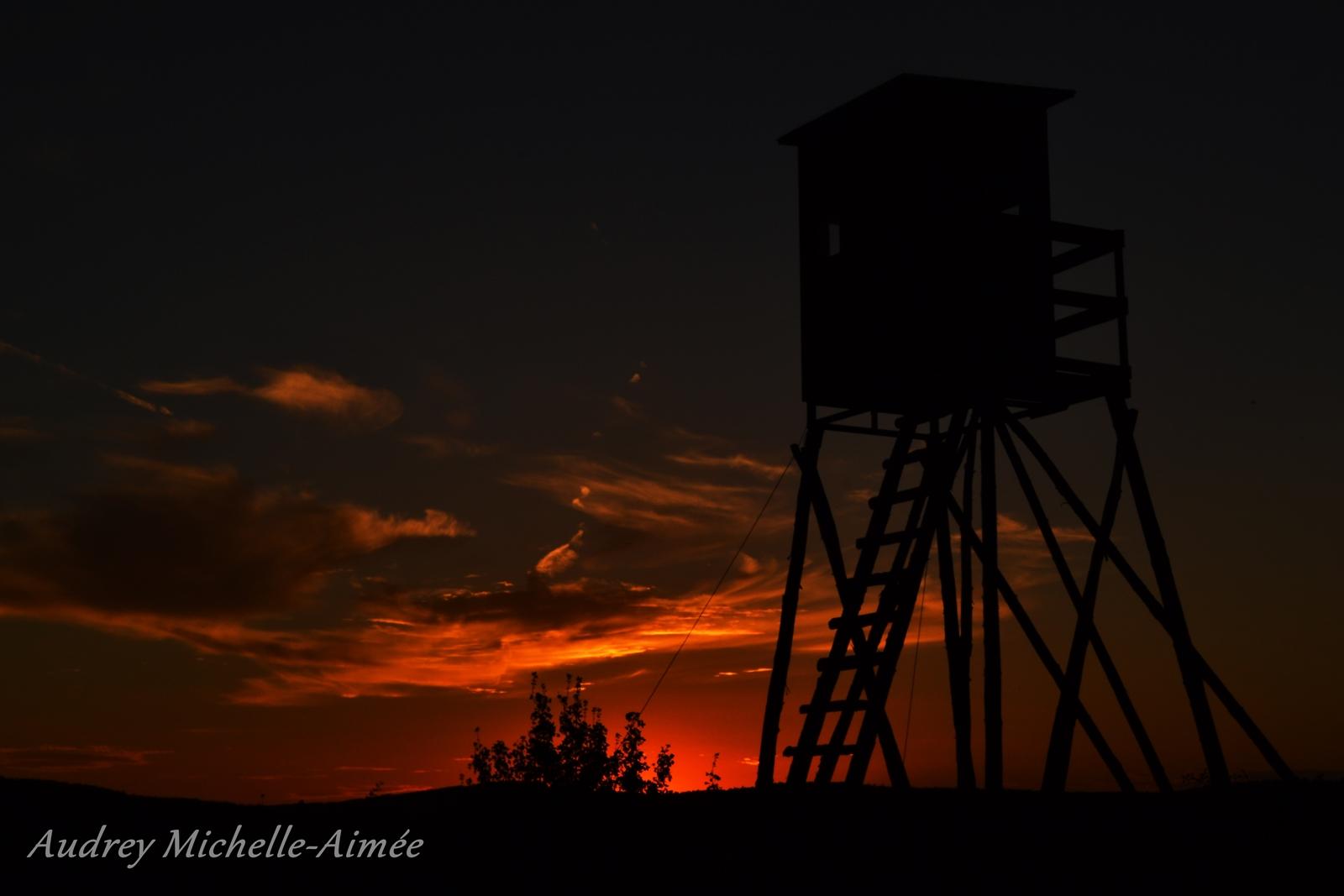Hochsitz im Sonnenuntergang