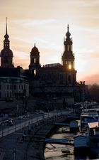 Hofkirche im Sonnenuntergang