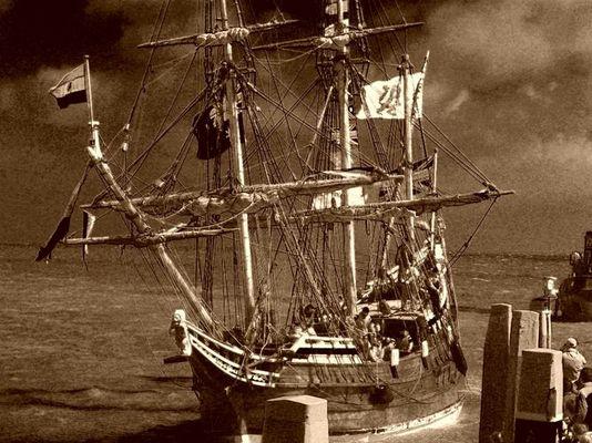 """Holländisches Segelschiff """"Dyfken""""."""