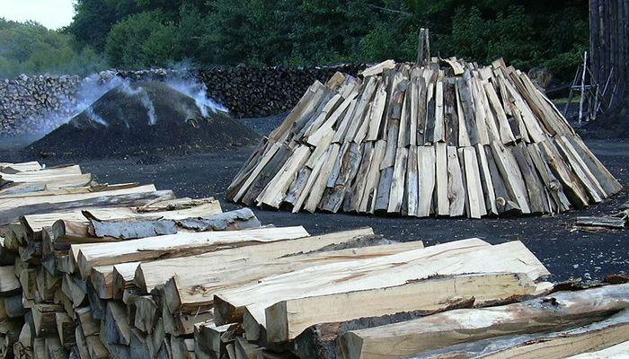 Holz zu Kohle