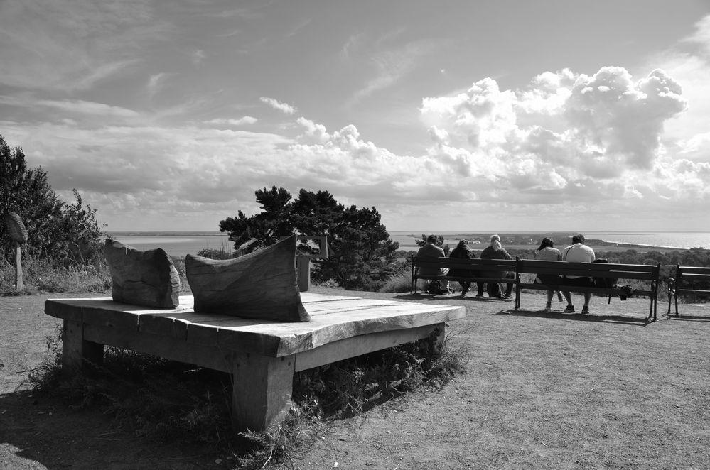 Holzbett auf dem Inselblick
