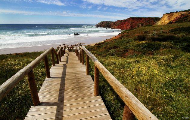 Holzweg zum Meer