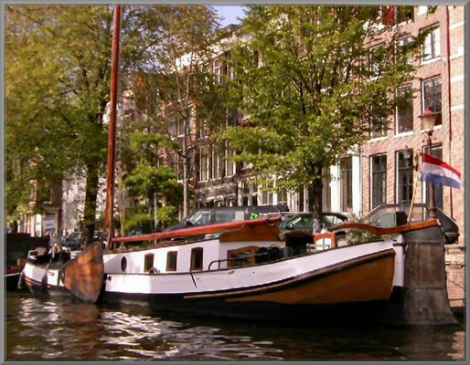 Home boat in Amsterdam city.