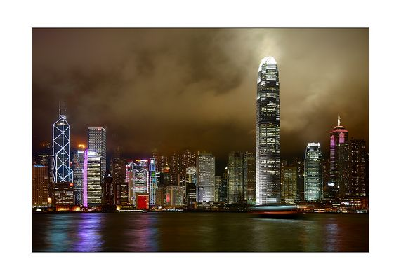 Hong Kong Island Skyline mit Fähre