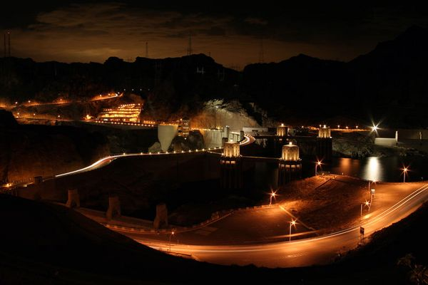 - Hoover Dam at night-