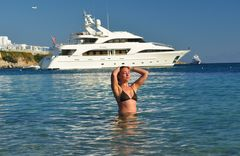 Hot Girl in front of her Yacht