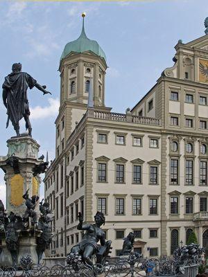 Hôtel de ville et fontaine d'Auguste  --  Augsburg  --  Das Rathaus mit dem Augustusbrunnen